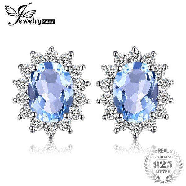 JewelryPalace Natural Topaz Gemstone Earrings Stud Genuine 925 Sterling Silver Jewelry Charm Gift For Girls Brand New Jewelry Y190125