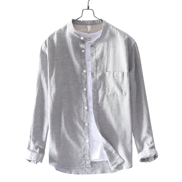 New Italy style brand long sleeve casual shirt men fashion stand collar shirts male solid spring shirt for men overhemd camisa