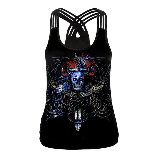 Fantasias de Halloween Fantasma Festival Horror Nova Europa e América Estilo Hot 3D Esqueleto Cabeça Imprimir Casual U-Neck Collar Slim Strap Pequeno Colete