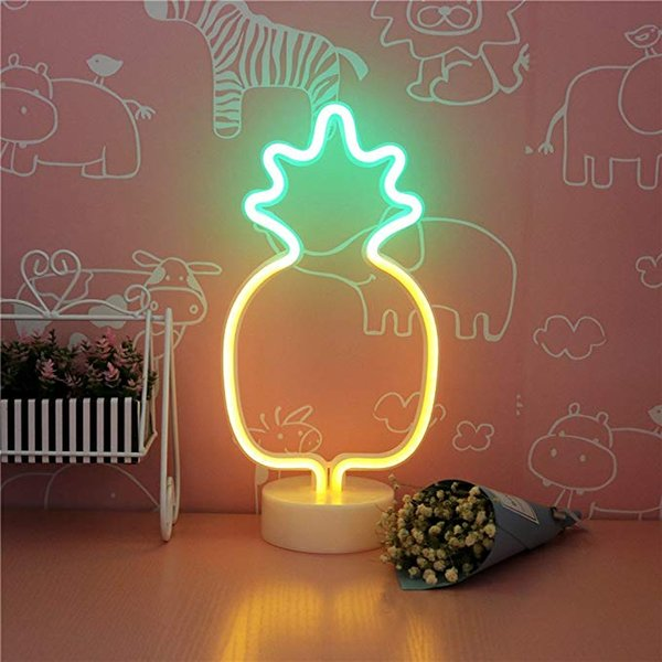 Custom fit Pineapple Neon Signs, LED Neon Light Sign with Holder Base for Party Supplies Girls Room Decoration Accessory for childr Children