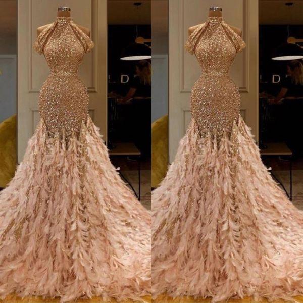 New Arrival Champagne Middle East Prom Dress 2020 High Neck Feathers Glitter Mermaid Evening Dress Arabic vestidos de fiesta de noche