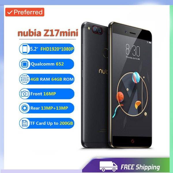 Factory Unlocked Original ZTE Nubia Z17 Mini 4GB RAM 64GB ROM Mobile Phone Snapdragon652 Cellphone Dual Rear Cameral FDD LTE 4G NFC