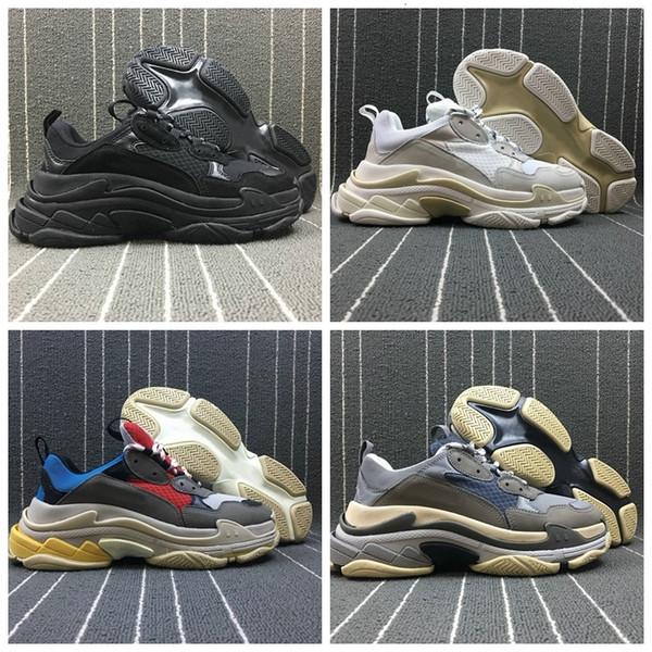 2019 Новая мода Paris Triple-S Дизайнерская обувь кроссовки мужские низкий платформы Тройные S вскользь Женщины дизайнер вскользь Спорт Тренеры EUR36-45