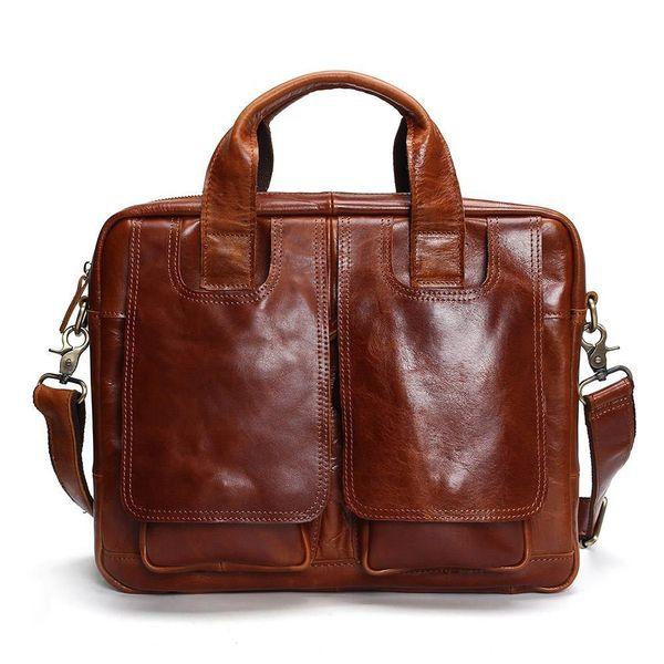 good quality Genuine Leather Bag Men Messenger Bags Handbag Briescase Business Men Shoulder Bag High Quality 2019 Crossbody Bag Men