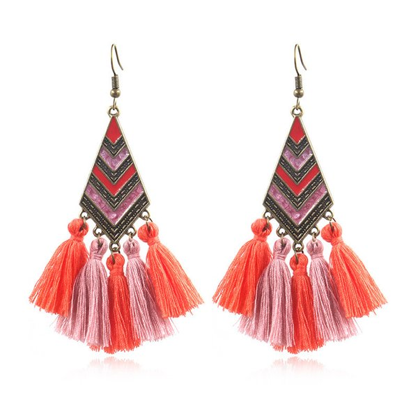 Bohemian Style Earrings Long Tassel Diamond Shape Gem Ear Stud Tassels Pendant Earrings Ear Jewelry For Women
