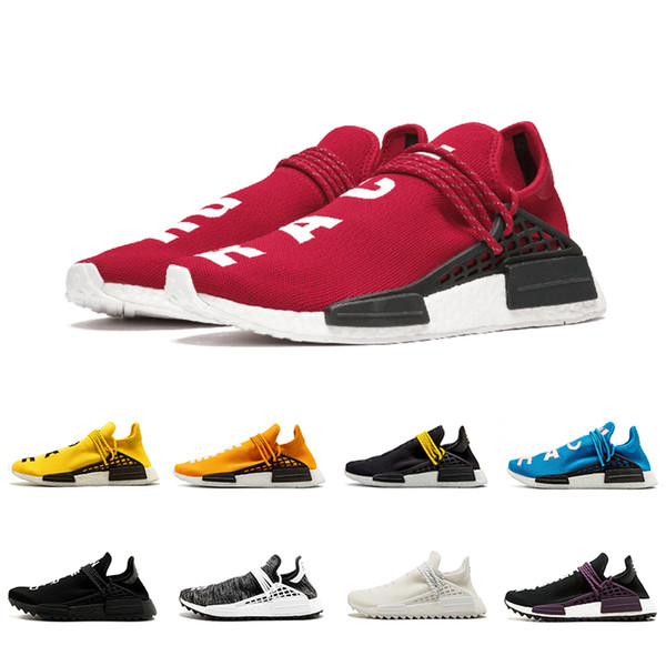 Discount Red white Orange Human Race Trail Running Shoes Yellow holi Black Blue Gream Men Women Pharrell Williams HU Runner Sports Sneakers