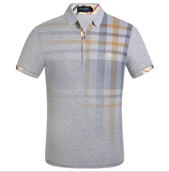 Marca 2019 T Shirt da uomo Fashion Stripe splicing Designer Bee bavero manica corta in cotone POLO T Shirt Homme Formato asiatico
