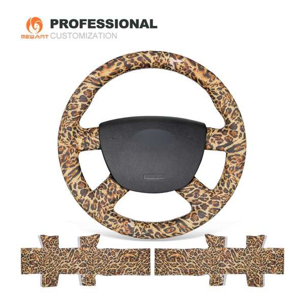 MEWANT Leopard Artificial Leather Car Steering Wheel Cover for Ford Kuga 2008-2011 Focus 2 2005-2011 C-MAX 2007-2010 Transit 2010
