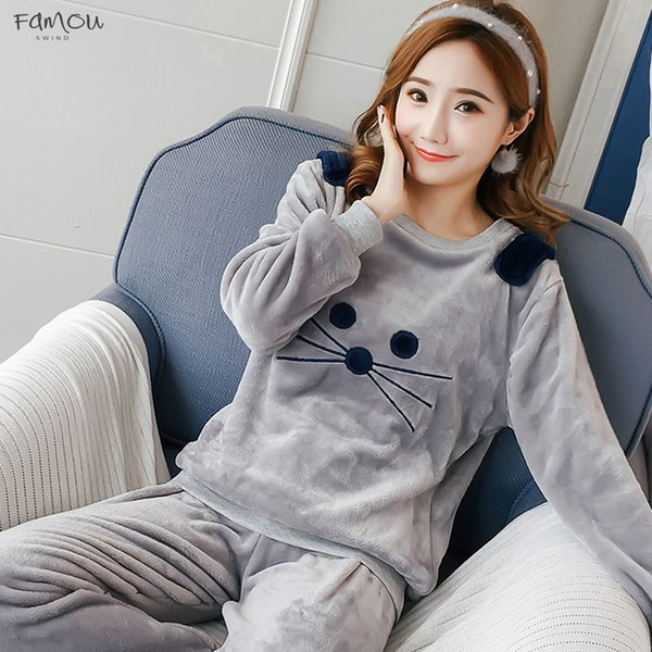Autumn And Coral Women Pyjamas Sets Thick Warm Winter Velvet Suit Flannel Long Sleeve Female Cartoon Bear Animal Pants Polyester Sleepwear