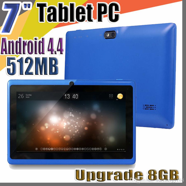 best selling 20X 7 inch Capacitive Allwinner A33 Quad Core Android 4.4 dual camera Tablet PC Upgrade 8GB 512MB WiFi Youtube Facebook Google flash C-7PB