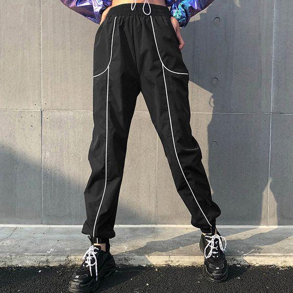 Fitshinling 2019 Streetwear women pants spring black slim joggers bottoms fashion loose high waist trousers for women hot sale