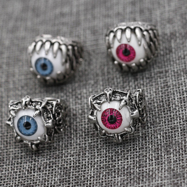 Männer Weinlese-Drache-Greifer-Blicks-Schädel-Ring Imitating Edelstahl Biker Ring Teufel Eyeball Halloween-Party Requisiten Männer Schmuck 6 Stil