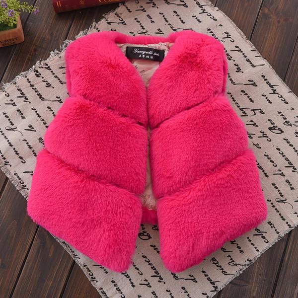 Warm Waistcoat Kids Girls Artificial Fur Vest Winter Children Sleeveless Jacket Outerwear Coats Clothing For Young Child Vw018