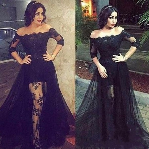 Vintage Black Lace Evening Dresses Bateau Neck Half Sleeve Pageant Sheer Plus Size Arabic Formal Party Prom Dresses For Special Occasion