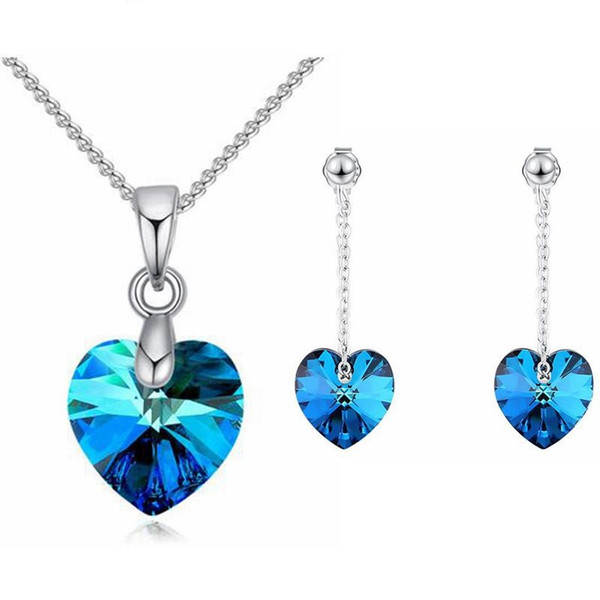 Mini Heart Necklaces Pendant Earrings Crystals From Swarovski For Women Girls Gift Silver Color Chain Kids Jewelry Decorations