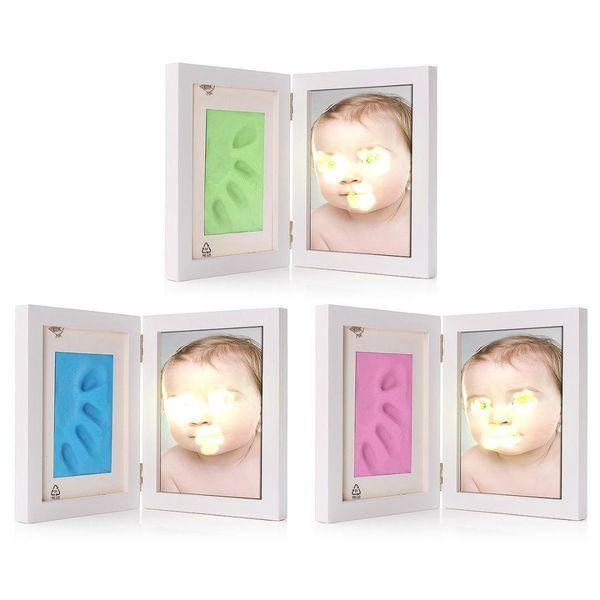 2019 3 Renk Sevimli Bebek Fotoğraf çerçevesi DIY handprint Künye Yumuşak Kil Sevimli Bebek Ayakizi El Nefis Baskı Cast Set hediye