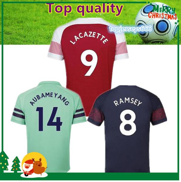 2019 #10 OZIL home red Soccer Jersey 18/19 MKHIARYAN short sleeve soccer shirt 2018/2019 #14 AUBAMEYANG Football uniforms sales