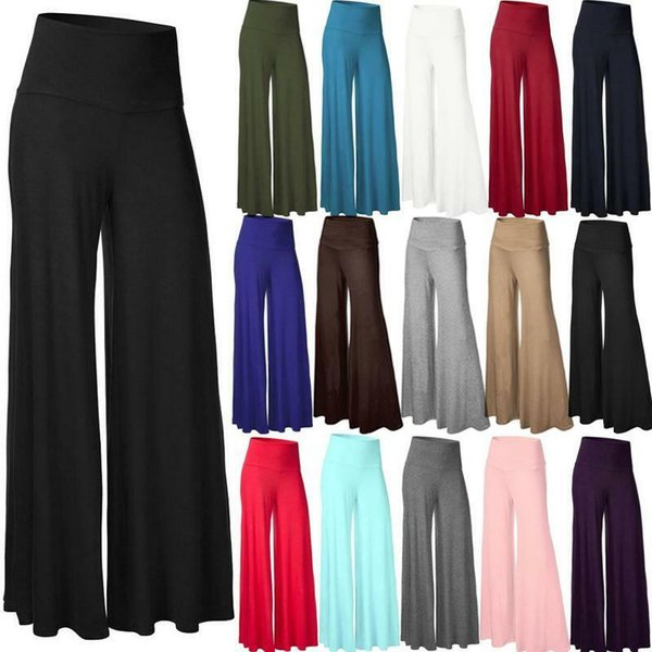 Womens OL Office Loose Stretch High Waist Wide Leg Long Pants Palazzo Trousers Fashion Plus Size 2XL Casual Pleated Party Pants Capris Long