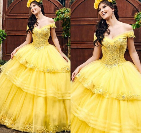 2020 Yellow Princess Quinceanera Dresses Appliques Beads Off The Shoulder  Ball Gown Sweet 16 Tulle Princess Prom Dress Party Gowns Cute Gowns Dark