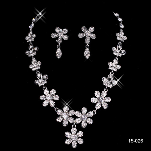 15026 Best Selling Unique Wedding Bridal Bridesmaids Rhinestone Necklace Earrings Jewelry Set Prom In Stock Hot Sale