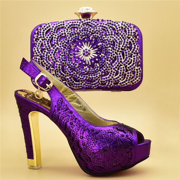 High heels Italian Ladies Shoes and Bags To Match purple Women Shoes with Bag Set for party