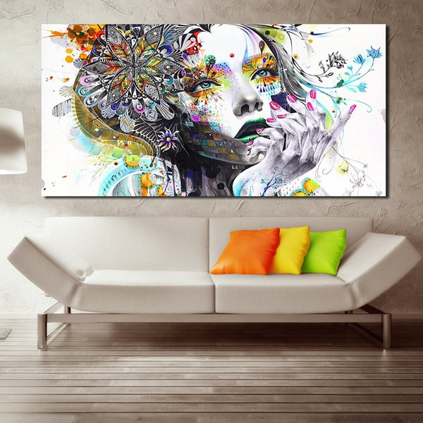 1 Piece Modern Wall Art Girl With Flowers Oil Painting Prints Painting On Canvas No Frame Pictures Decor For Living Room
