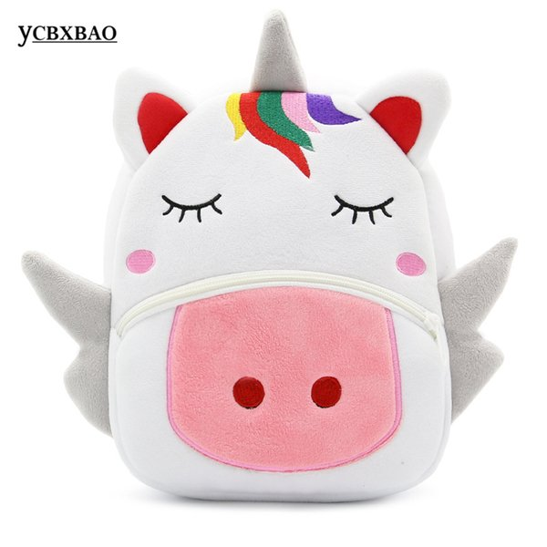 Children Gift Cute 3D Cartoon Animal Unicorn Giraffe Cow Plush Backpacks Kindergarten Baby School Bag for Girls Boys Schoolbags