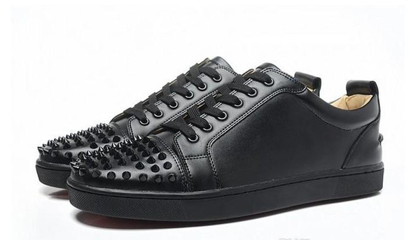 New men women designer black spiked toe sneakers,famous brand red bottom designer mens luxury genuine leather flats sports shoes