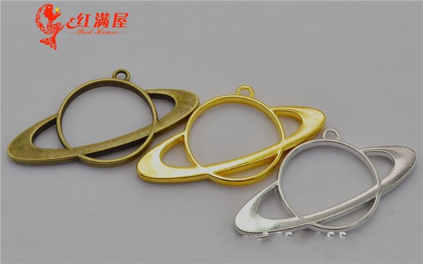 20pcs 57*30MM DIY jewelry materials and accessories gold hollowed satellite charms metal blank frame Japan popular hollow rim pendants