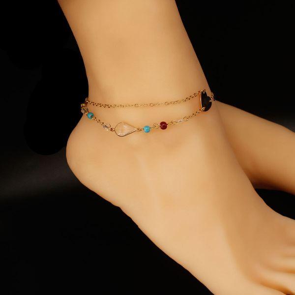 Boho Charm Anklets Women Barefoot Sandals Multi-layer Beads Ankle Bracelet Summer Beach Beaded Ankle Bracelets Foot Jewelrymmer Beach
