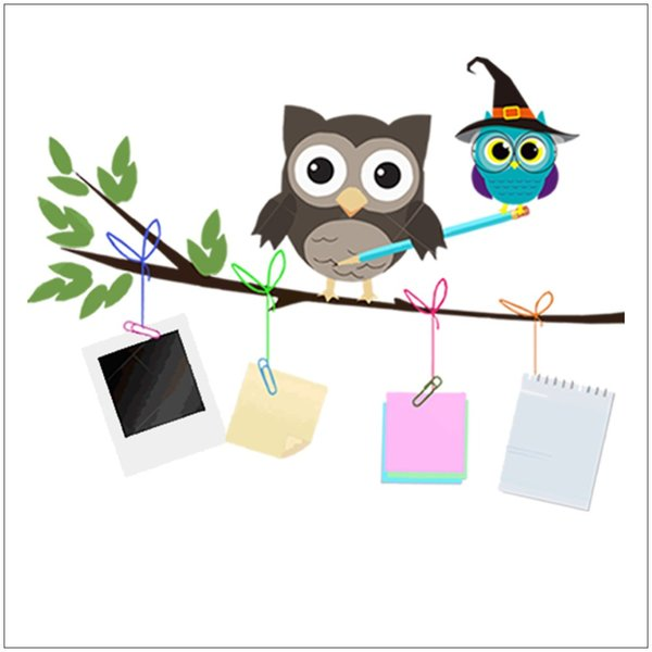 Cartoon Cute Owl Family Branch Wall Stickers For Kids Baby Rooms Poster Home Decor Bedroom Wall Decals PVC Animal DIY Art Mural