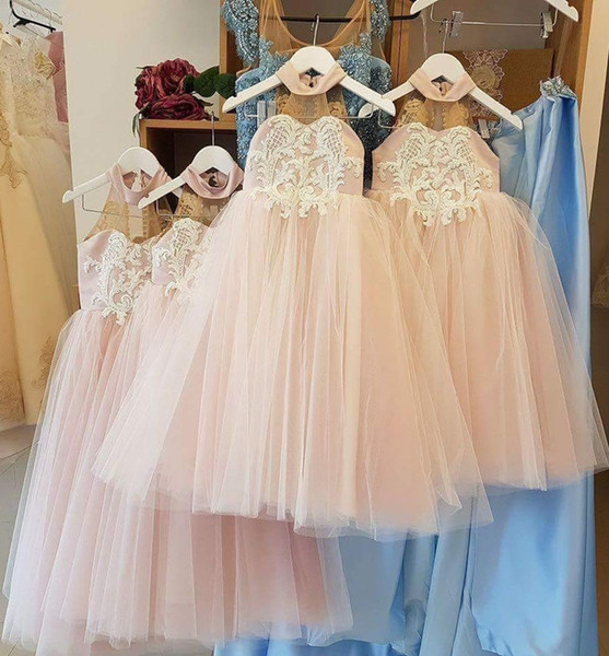 Lovely High Neck Flower Girl Dresses Long Lace Appliques Sheer Back Toddler Communion Dress for Girls Teenagers Kids Party Gowns