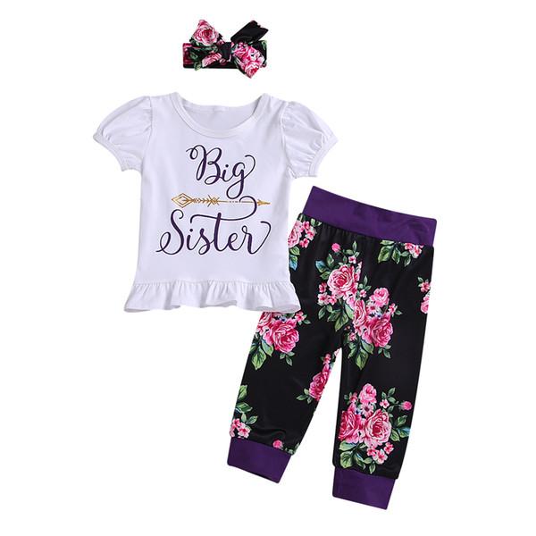 Conjunto de Conjuntos de Diadema Mameluco de Manga Corta a Juego Big Little Sister de Baby Girls Pantalones Florales