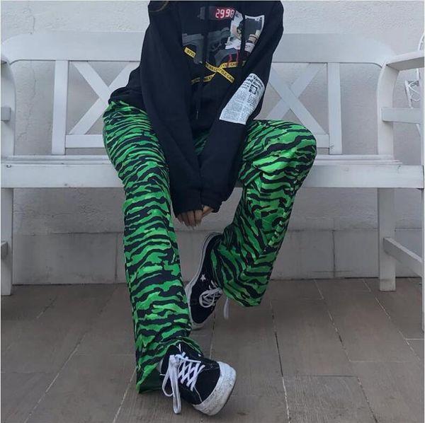 Summer women's new green leopard high waist straight pants
