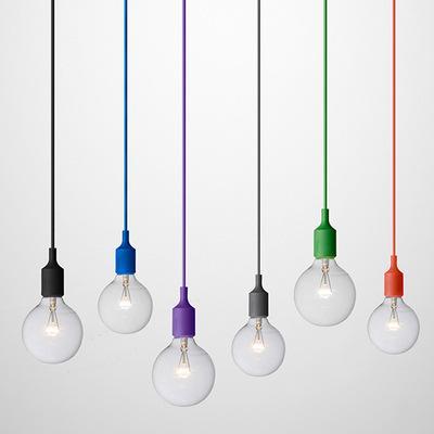 top popular Art Decor Silicone E27 Pendant Lamp Ceiling light no bulb Holder Hanging lighting Fixture base Socket Modern silica gel retro Colorful light 2021