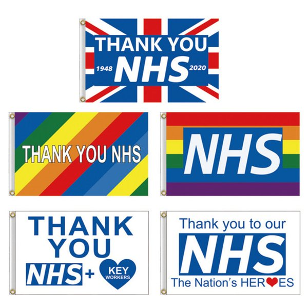 best selling Thank You NHS Hand Flag 90*150cm Rainbow flags UK Banner Thank You Key Workers flag Banners for England Scotland Wales Wholesale JJ408