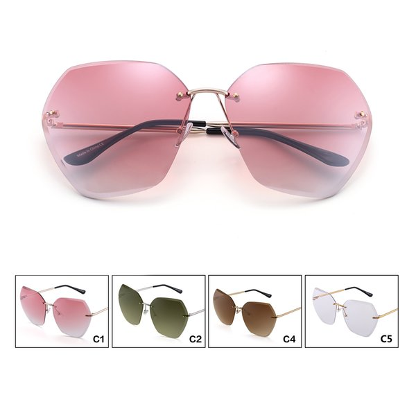 Free shipping - 2019 Fashion Sexy Rimless Oversized UV400 Sunglasses for Women Metal Frame Sun Glasses Pink Blue Plastic UV400 Shades Design