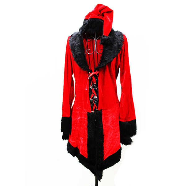 new Christmas Sexy Red long sleeve plush Clothing Santa Claus Cosplay clothes for women Waitress Uniforms Christmas Party Dress