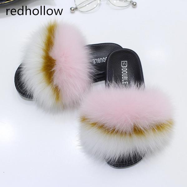 Summer Women Fox Fur Slippers Luxury Real Fox Hair Slides Casual Beach Sandals Furry Indoor Flip Flops Fluffy Plush Slippers