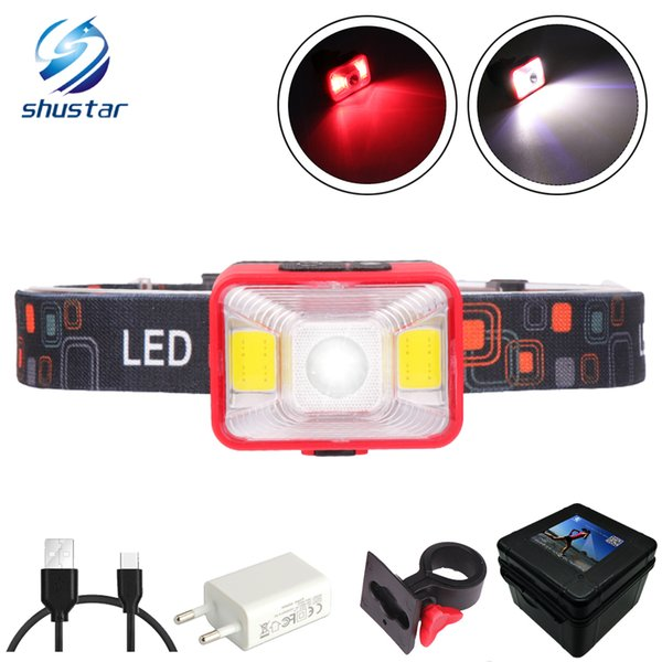 Rechargeable LED Headlamp 5 Lighting Modes Headlight Working Lamp Red light + white light For outdoor activities at night