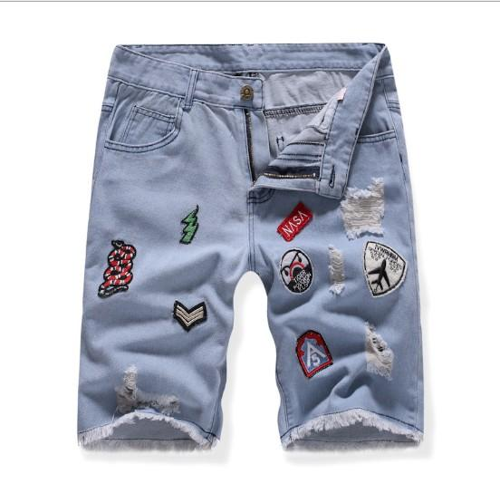 Mens Denim Jeans Hot Sale Fashion Washed Embroidery Badge Straight Fashion Jeans Tamaño asiático Envío gratis