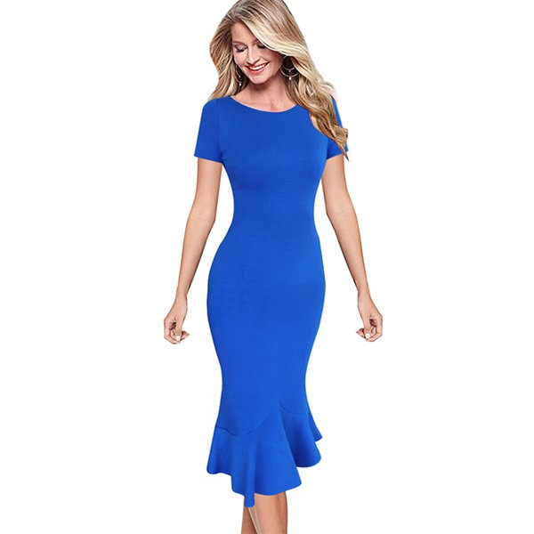 Vfemage Womens Elegant Vintage Summer Pinup Wear To Work Office Business Casual Cocktail Party Fitted Bodycon Mermaid Dress 1053 GMX190708