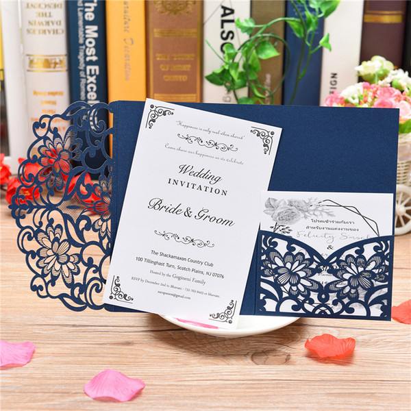 Blue White Elegant Laser Cut Wedding Invitation Cards Greeting Card Customize Business With Rsvp Cards Decor Party Supplies Online Birthday Greeting