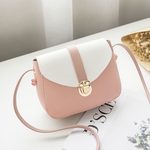 Color Matching Pu Crossbody Bag 2019 New One-shoulder Fashion Color Mobile Phone Bag Wild Quality Small Girl Simple Bag