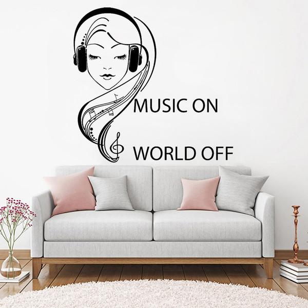 Музыка Наушники Подростков девушка Наклейка Котировки Music On World Off Виниловые Таблички Family Room Decoration Art Mural
