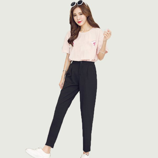 Satış Sıcak 2019 Sonbahar Kore Kadın Klasik Yüksek Elastik Bel Harem Pantolon Kadın Moda Ince Düz Renk Ayak Bileği uzunlukta Pantolon