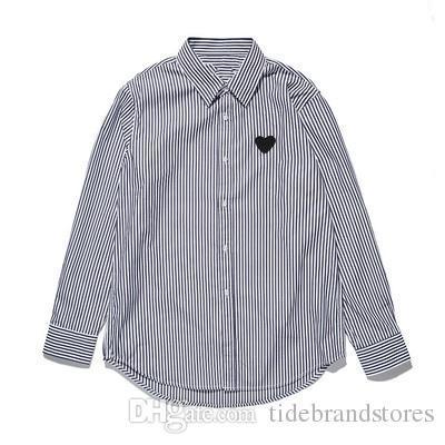 Мужские дизайнерские футболки PLAYS Shirts Японская марка Tide с вышивкой Сердце Трикотажная рубашка Love Мужские и женские хлопковые полосатые длинные