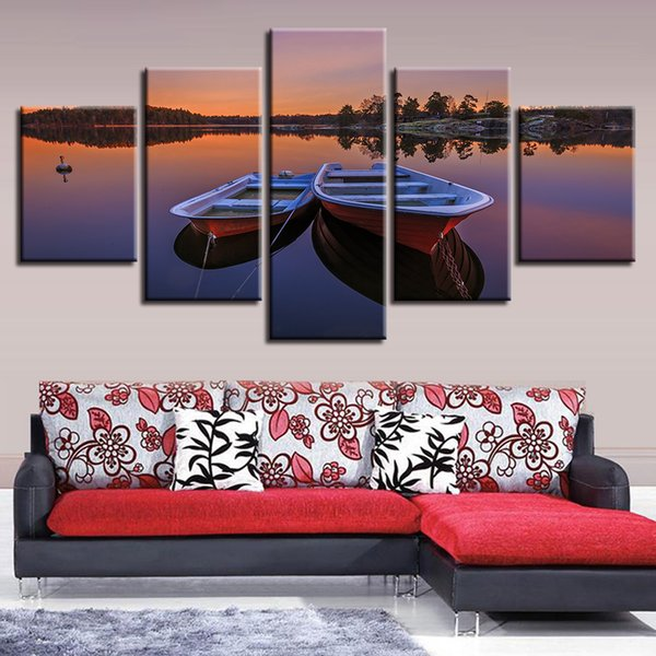 Canvas HD Prints Poster Home Wall Art 5 Pieces Sunset Boats Lake Painting Landscape Pictures Modular Living Room Decor Framework