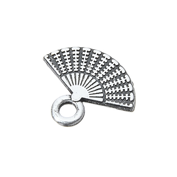 Fishhook 20pcs Custom Bracelet Jewelry Antique Silver Color Metal Pendants And Charms With Tone Hand Fan Floating Shaped