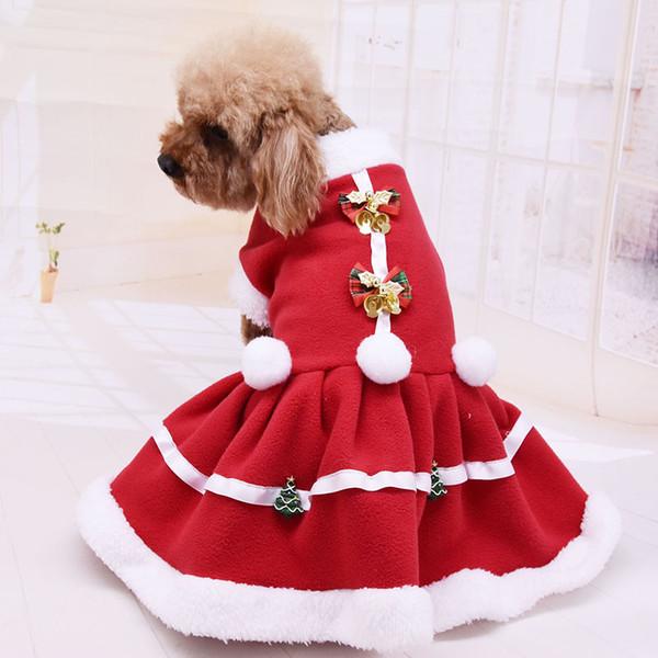 Новый Pet Одежда Рождество Нового года Красного платья для собак и кошки двойной сваи теплой одежды осенью и зимой